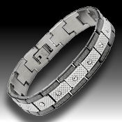8235 $35 Gentleman's black enamel and stainless steel bracelet, 16 genuine crystals, Fold over clasp, 51.2 g, 8