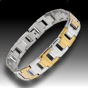 8238 $30 Two Tone Stainless and  gold 32.3g, folds over clasp, 12mm wide 8in long  2mm deep