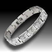 8239 $23 Stainless steel and Crystals, 46.5g 8.5in long, 12mm wide, 3mm deep, fold over clasp, 13 genuine crystals