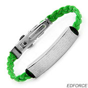 8247 $18 Ed force Green Leather, stainless steel, and rubber, 9.5gr 10mm wide 7in long 4.mm deep