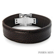 8248 $48 D&K Dev collection, Brown Leather and stainless steel, 31g  7.5in long, 23mm wide x 4mm deep, fold over clasp. MSRP $145