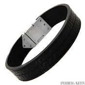8251 $45 D & K Baron collection Black Leather and Stainless steel, 20.9g 15mm wide, 2mm deep, 8in long MSRP $120