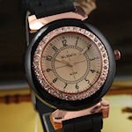 Beautiful ladies Quartz watch,  Rose Gold bezel and accents, Black rubber band, quartz movement $30.00