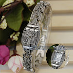 Lovely ladies Retro design, black slim hidden face with Hematite crystals