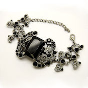 victorian style in Black and Silver, Austrian crystals 1.5in W in L