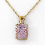 5,01 ctw elegant cut Amethyst and diamonds gold plated Sterling Silver with 24in necklace