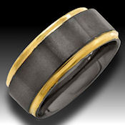 14k Gold trim on brushed Tungsten 9mm wide This is THE ring to have