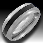 Silver Tungsten mans ring with black stripe down middle  11.80g Nice ring
