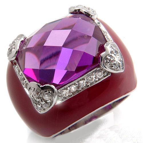 Wow what a ring the center stone is 18.76ctw CZ Amethyst with pink enamel total weight 16.4g