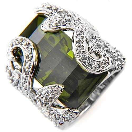 If you want big and beautiful, this is the ring 25.07ctw Emerald green CZ with CZ chips solid Sterling Silver 21.1g